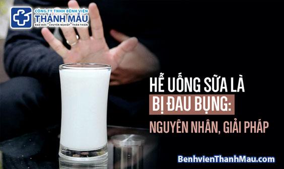 đau bụng khi uống sữa